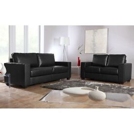 NEW BOX LEATHER SOFA BLACK & BROWN COLOR CHEAPEST ON GUMTREE