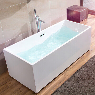 "67"" Freestanding Acrylic Tub Modern Glossy White Rectangle Bathtub&Center Drain"