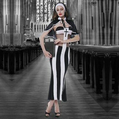 Ladies Sexy Nun Sister Church Costume 3 Piece Dress Wimple & Thong Size 10-12