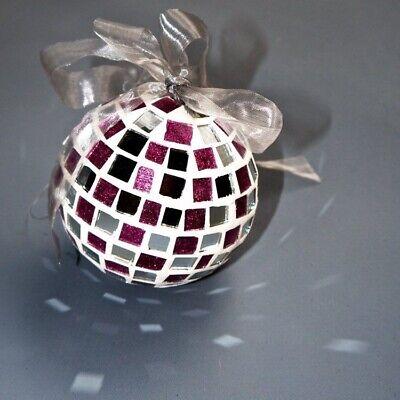 9 Handmade Pink Glass Mirror White Grout Mosaic Disco Ball Christmas Ornament 3