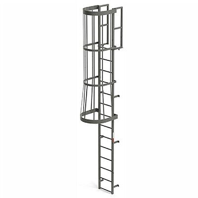 Steel Fixed Ladder - NEW! EGA Steel Fixed Cage Ladder, 14 Step Gray!!