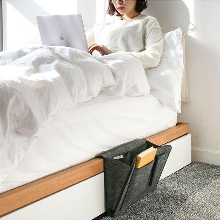 Tasche Nachttisch Bett Sofa Aufbewahrung Für Bücher Handyhalter Organizer DE