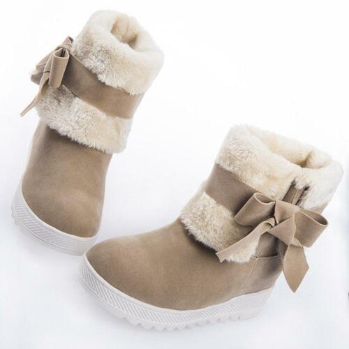Winter Warm Women Bowknow Pull On Ankle Boot Fleece Wedge X1