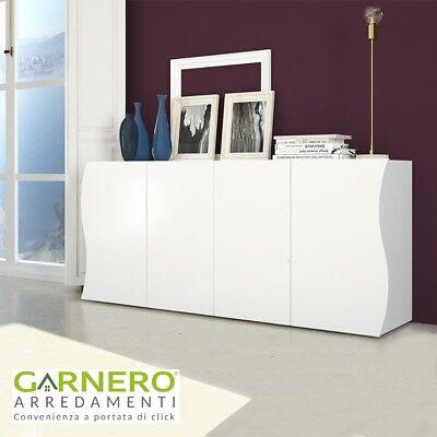 Credenza SEA 4 ante, base mobile madia moderna bianco laccata lucido soggiorno
