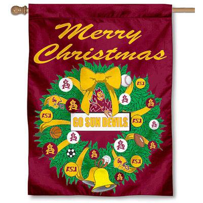 ASU Sun Devils Merry Christmas Wreath Decorative Holiday Wreath House Flag - Asu Decorations