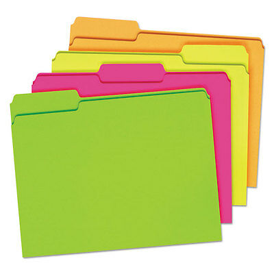 Pendaflex Glow File Folders 13 Cut Top Tab Letter Assorted Colors 24box 40523
