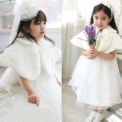 Kids Girls White Faux Fur Cape Wrap Shrug Shawl Coat Wedding Party Winter 2-13T (Girls Cape)