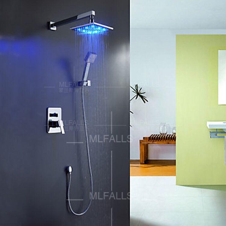 Duscharmatur Set : LED Duscharmatur Set ?berkopfbrause Regendusche Duschs?ule mit