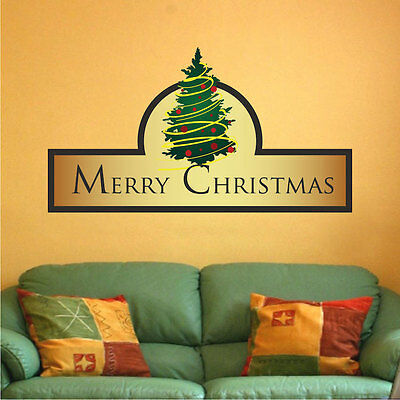 Merry Christmas Wall Decal Winter Wallpaper Seasonal Decorations Vinyl, h30 - Christmas Wallpaper Decorations