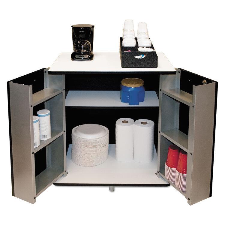 VERTIFLEX PRODUCTS Refreshment Stand, Two-Shelf, 29 1/2w x 21d x 33h, Black