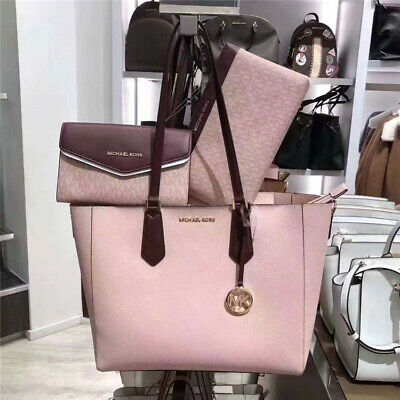 NWT Michael Kors Kimberly 3 In 1 Leather Tote Crossbody Wallet Clutch Pink Set