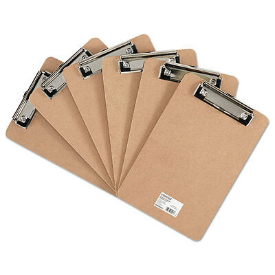 Universal Hardboard Clipboard With Low-profile Clip 12 Capacity 5 X 8 Brown 6