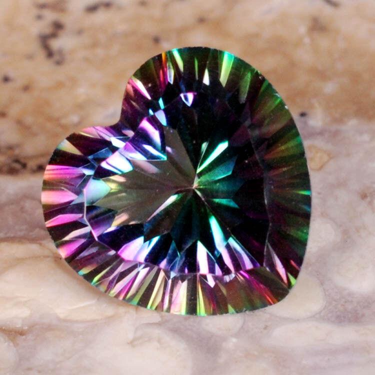 Pair (2) Green MYSTIC QUARTZ 9x9mm HEART Faceted GEMSTONES ~ 5 carats!