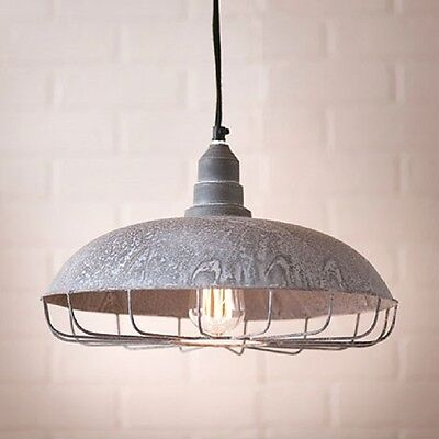 Farm Supply Store Pendant Light with Wire Protection Cage in Weatherd Zinc - Supply Store