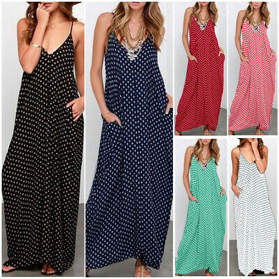 Women Plus Size Polka Dots Strappy Dresses Ladies Summer Holiday Beach Sun Dress