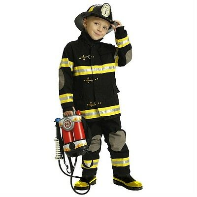 Jr. Fireman Fire Fighter Deluxe Black Child Costume Suit W/ Helmet | Aeromax - Firemen Costumes