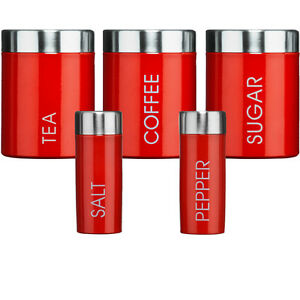 Tea coffee sugar salt n pepper pots set of 5 red canisters Salt n pepper pots