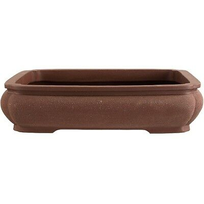 Bonsai pot 41x33x9.5cm handmade brown rectangular unglaced