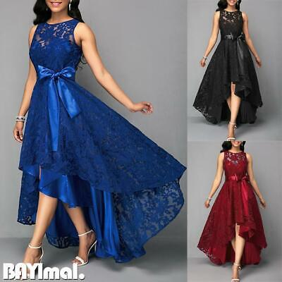 Womens Lace Belted Sleeveless Maxi Dress Ladies Evening Party Cocktail Prom Gown