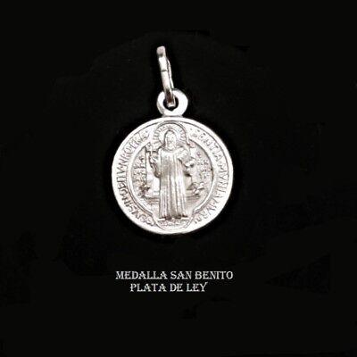 COLGANTE MEDALLA SAN BENITO PLATA DE LEY con CRUZ DE SAN BENITO...