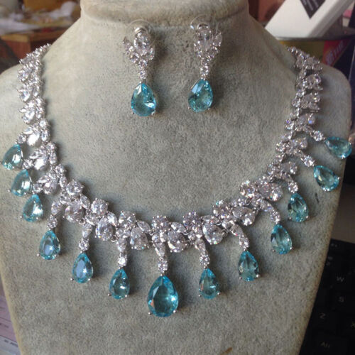 Luxury All Cubic Zirconia CZ Wedding Party Prom Necklace Earrings 8 Colours