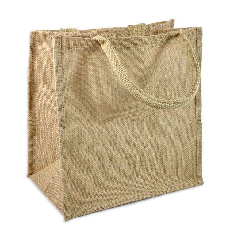 "12 Pack Jute Shopping Tote Bags, Burlap Totes, Size12"" x 1"