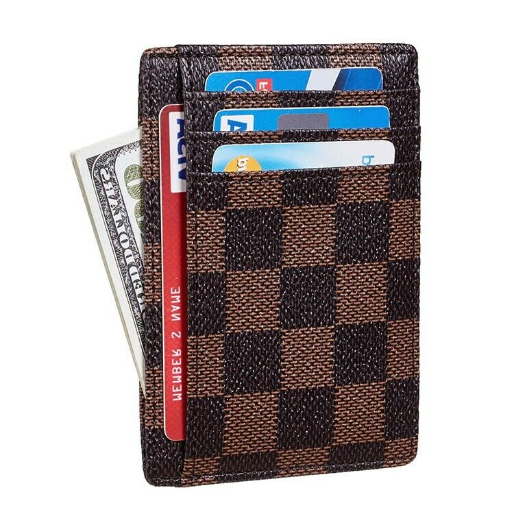 Luxury Checkered Card Holder For Men and Women