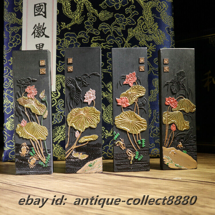 Exquisite Chinese Oil Fume Ink HuiMo HuKaiWen Calligraphy Writing Solid Inkstick