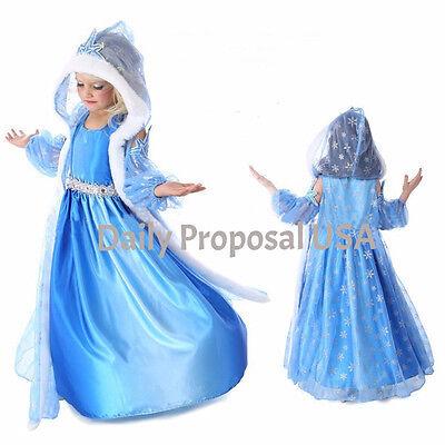 FE6A-B Elsa Dress w/Hooded Coat & Sleeve Frozen Girl Kid Halloween Costume -