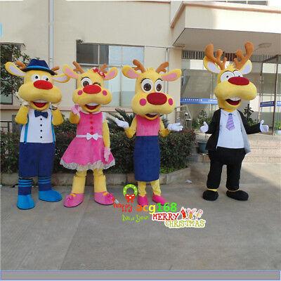 Cute Deer Mascot Costume Family Style Outfit Animal Reendeer Parade Elegant A+ (Cute Deer Halloween Costume)