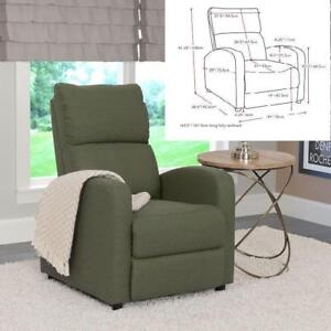 CorLiving Moor Greenish-Grey Linen Fabric Recliner New in Box