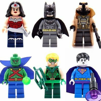 6 Sets Super Heroes Minifigures Green Arrow Biazrro Wonder Woman Blocks - Green Superhero