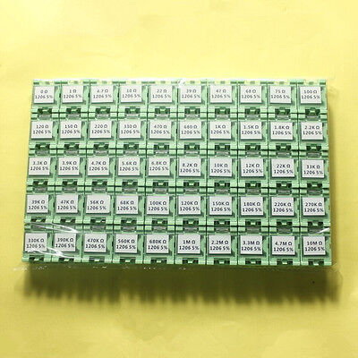 50 Value 1206 Smd Assorted Resistor Kit In Box 0r10mr 5000pcs 14w 5rohs
