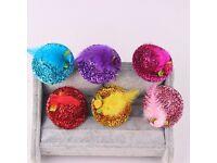 6 New mini glitter hat hair grips