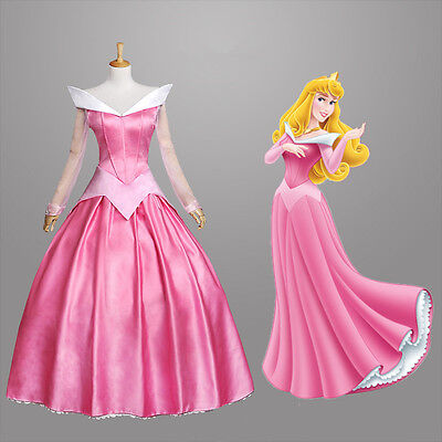Princess Aurora Sleeping Beauty Pink Adult Cosplay Costume Halloween Party Dress