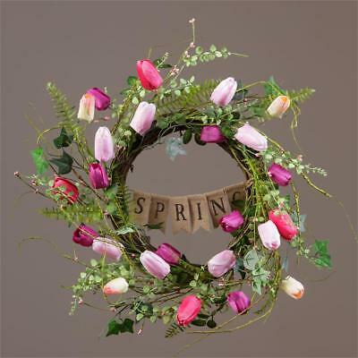New Primitive Country Cottage Pink SPRING TULIP WREATH Burlap Banner Swag