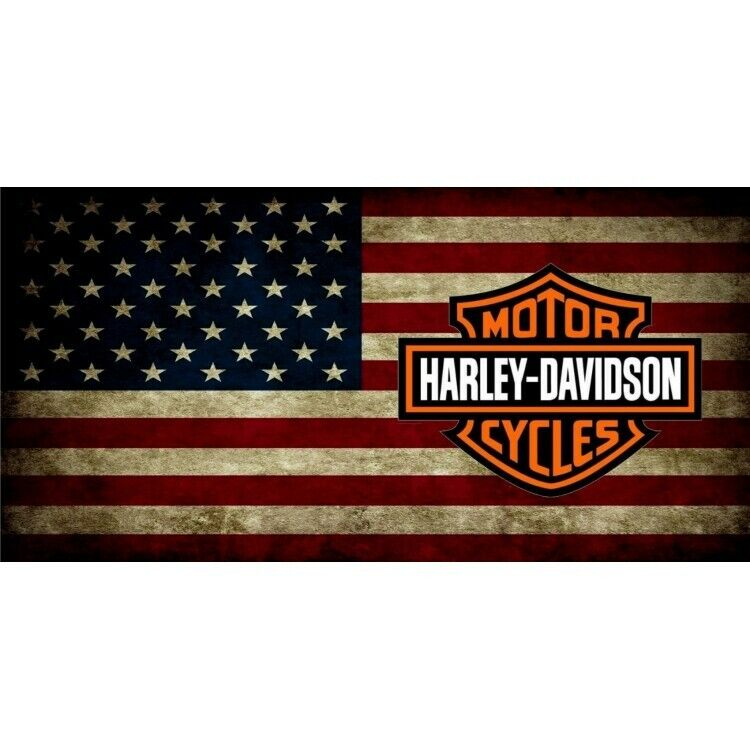 Harley-Davidson American Bar and Shield Flag License Plate