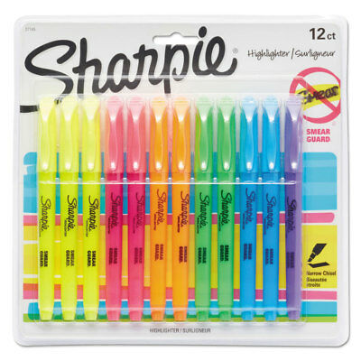 Sharpie Accent Pocket Style Highlighter Chisel Tip Assorted Ink 12 Per Set 27145
