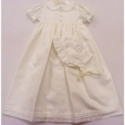 Traditional Baby Christening Robe Pleated Long Ivory Gown & Bonnet 6-12 months