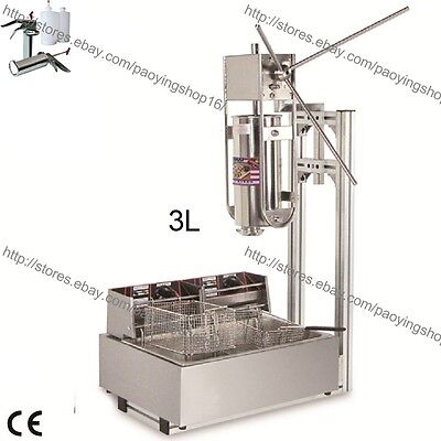 Commercial 3l Vertical Manual Churrera Churros Machine W 12l Fryer 700ml Filler