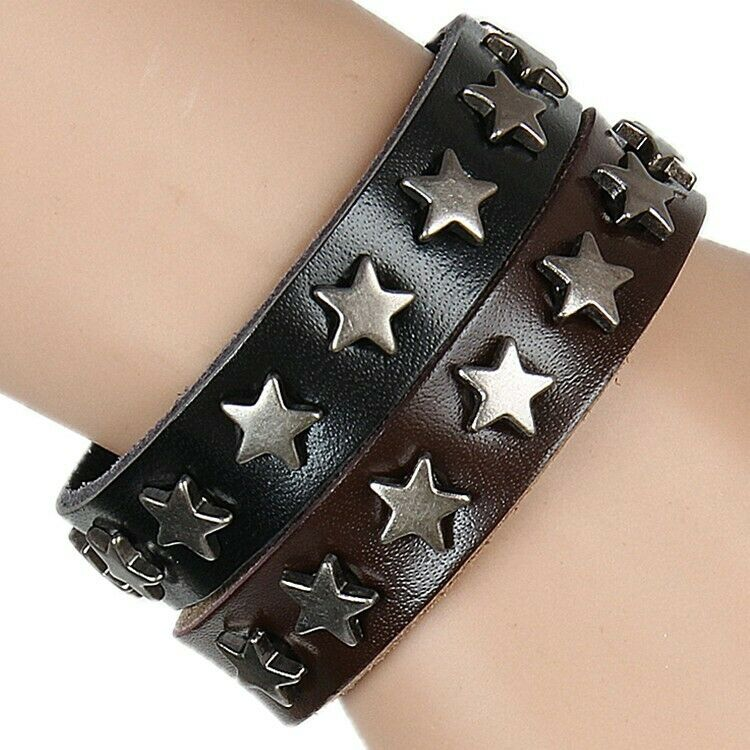 Fashion Men Women Star Metal Wristband PU Leather Cuff Bracelet Bangle Gift US Bracelets