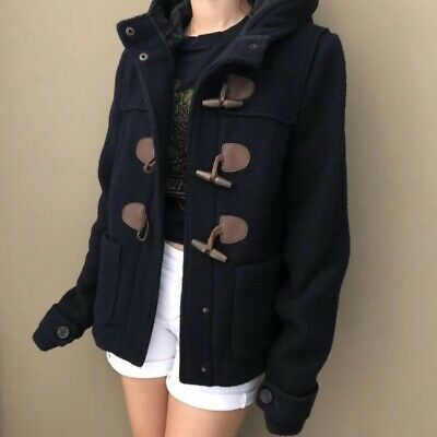Women's Abercrombie and Fitch Pea coat Jacket Navy Blue Size M