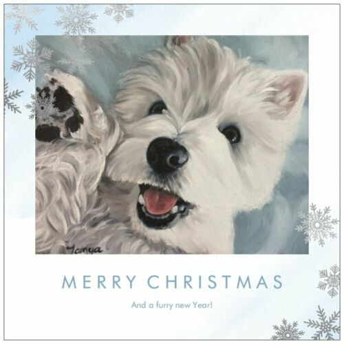 Holiday Christmas card set Snow flake Westie from original painting art