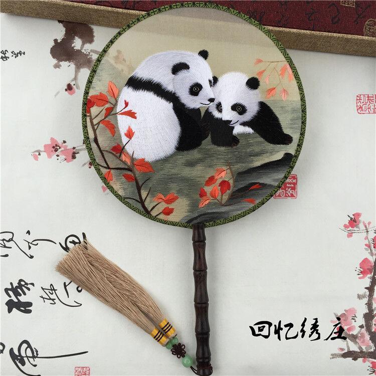 Chinese 3D Lifelike panda Double Side SU Embroidery Silk Hand Fan home Decor