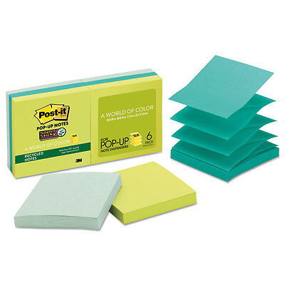 Post-it Pop-up Recycled Notes In Bora Bora Colors 3 X 3 90-sheet 6pack R3306sst