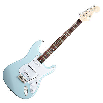 Squier by Fender Bullet Strat Electric Guitar with Tremolo (Daphne Blue) on Rummage