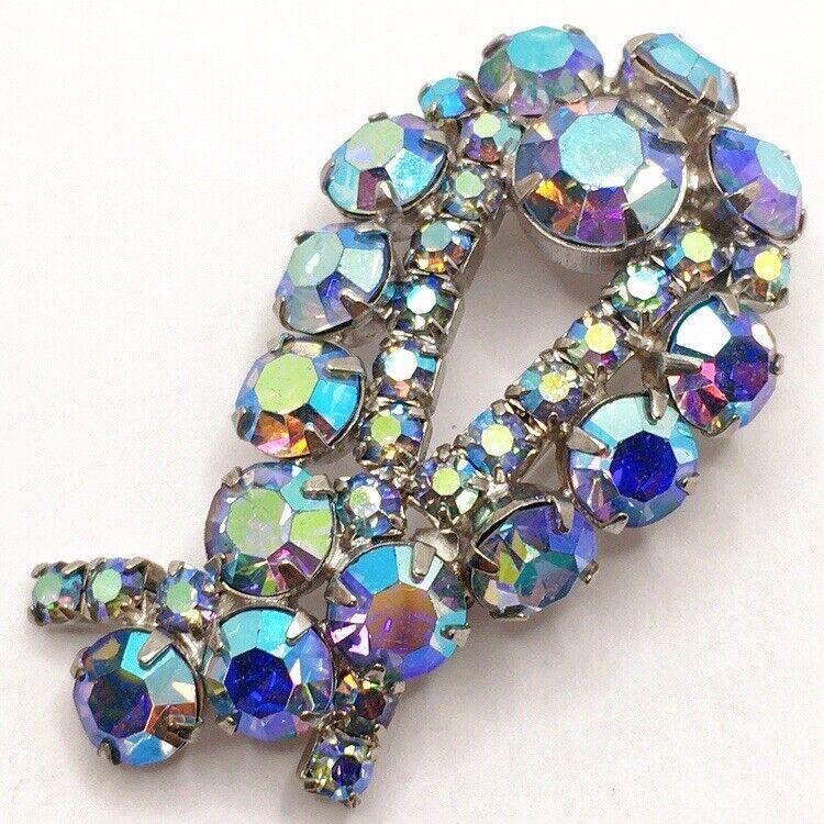 ☔️Vintage AB Rhinestone Blue Abstract Shape Brooch Pin Lot B Tear Drop
