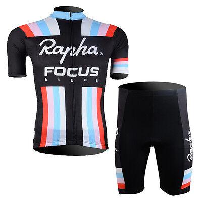 (Mens Cycling Short Sleeve Jerseys Shorts Kits Bicycle Riding Shirt Pants Pad Set)