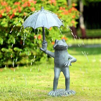 Aluminum Whimsical Rainy Day Fable Frog With Umbrella Garden Spitter Statue 30
