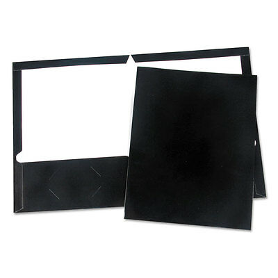 Universal Laminated Two-pocket Folder Cardboard Paper Black 11 X 8 12 25pack